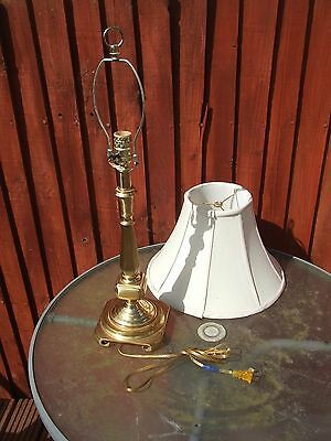 Mock brass traditional table light stand and shade