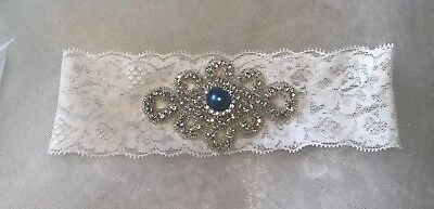 Vintage Bridal Crystal Blue Pearl Wedding Garter White Lace Bride Prom Hen Party