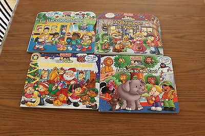 4 Fisher Price Lift the Flap Board Baby Books Lot Toddler Halloween Christmas