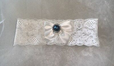 Bridal  Blue Pearl Wedding Garter White Lace Bride Prom Hen Gatsby Party