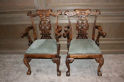 Set Of 10 Mahogany Mid 19th Century English Chippendale Style Dining Chairs