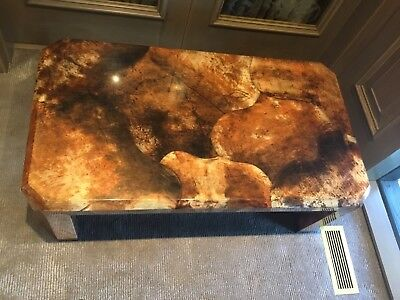 Mid Century MCM Lacquered Goat Skin Coffee Table ITSO Karl Springer