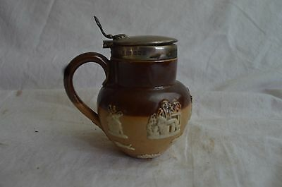 Antique Doulton Lambeth Hunting Sterling Silver Miniature Syrup Pitcher Rare Mug