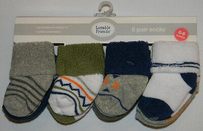 New Luvable Friends Multi-Color Blue Gray Sz 0-6 Mos 8 Pairs Baby Boy Socks