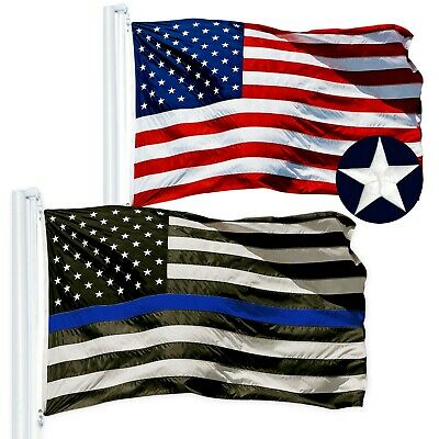 COMBO PACK of 3'x5' ft Embroidered: American US USA Flag + Thin Blue Line Flag
