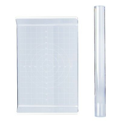 Keriber 2 Pieces Acrylic Clay Roller Acrylic Sheet Board with Grid Essential ...