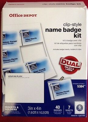 "Office Depot (TM) Brand Top-Load Name Badge Kit, Clip-Style, 3"" x 4"", Box Of 40"