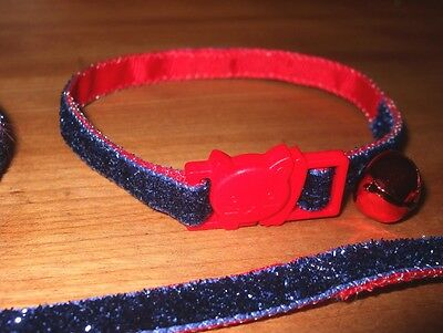 Home Made Cat Collar w Quick Release Break-Away Clasp and Bell -Dk Blue Glitter