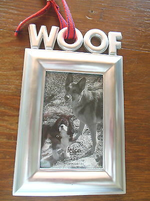 NEW: Fetco WOOF Dog 4x6 Pewter Standing Photo Picture Frame w/Red Collar ($26)