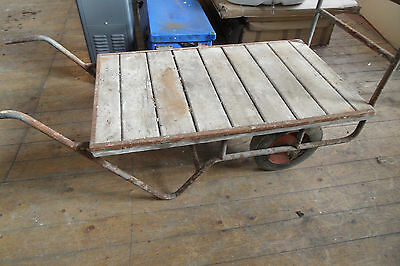 Antique Vintage Old Industrial Sack Barrow Cart Trolley