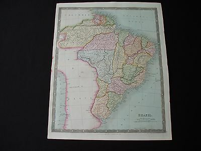 1834 Teesdale Atlas Map Brazil South America -183 Year Old Genuine Antique