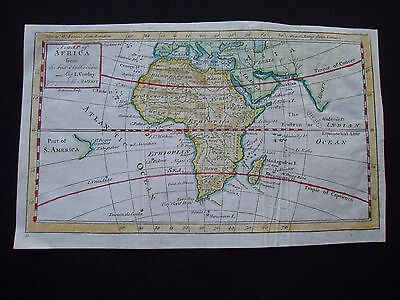 1742 Cowley Map Africa Antique 275 Yrs Old