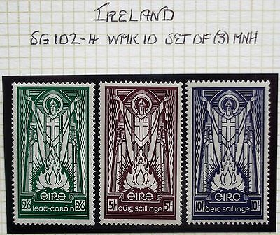 (A244) Ireland 8 Sep 37 #102-4 WMK 10 Set of (3) MNH See Photo's.