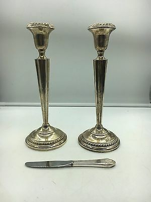 2 Sterling Weighted Columbia Candlestick Holders + Waldorf Astoria Knife
