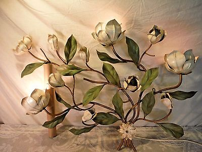 Vintage Tole Lamp Painted Metal Floral Wall Art Light Toleware Magnolia Italy