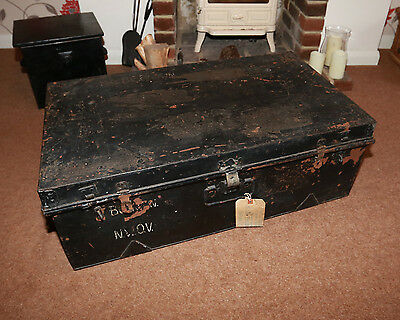 Trunk Chest Antique Black Metal Coffee Table - LARGE MARKED MRS BROWN