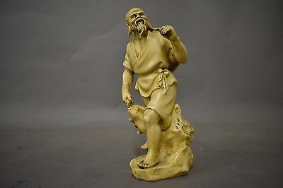 Carved Asian Fisherman Figure/Statue