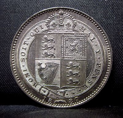 1887 Great Britain 1 Shilling ✪ Au Almost Uncirculated ✪ England L@@k ◢Trusted◣