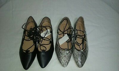 Olivia Miller Lot of two Pairs Faux Leather Ballet Flats Size 8M New!