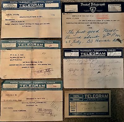 5 Postal Telegrams/telegraphs & 1 Envelope. Civil War/navy 1916-1933