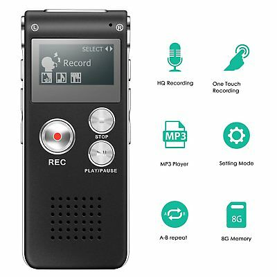 8GB Rechargeable Steel Digital Sound Voice Recorder Dictaphone MP3 Player Record