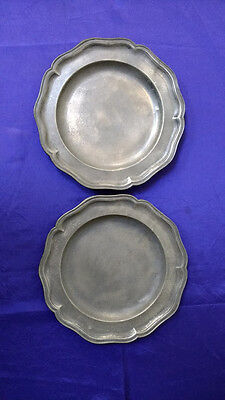2 Antique Wavy Edge Pewter Plates