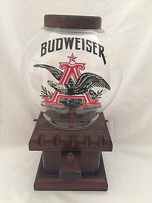 Vintage Budweiser Beer Wooden Glass Globe Gumball Candy Dispenser Machine
