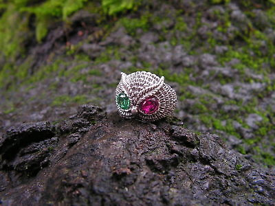 Sterling Silver Owl Ring With Emerald and Ruby Eyes In Sizes 4-13