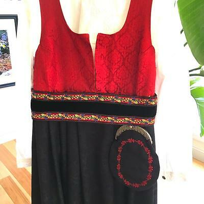 Authentic  Xl-  Xxl Eu 46-48 ++ Norwegian Bunad Red Brocade & Purse From Norway