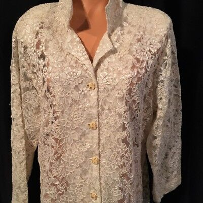Vintage Handmade white lace Vintage buttons Wedding Bridal Long Jacket Top XL
