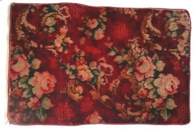 Vintage Wool Bohemian Well Worn Rose Rug Floor Mat Red Floral