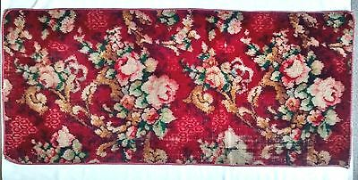 Vintage Wool Bohemian Well Worn Rose Rug Floor Runner Red Floral Rectangle
