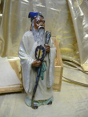 Japanese old man figure with wood presentation box signed by the artist
