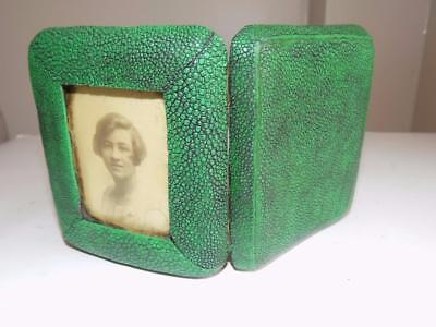 Art Deco 1930's Rare & Unique Shagreen Ladies Cigarette Case Plus Photo Frame