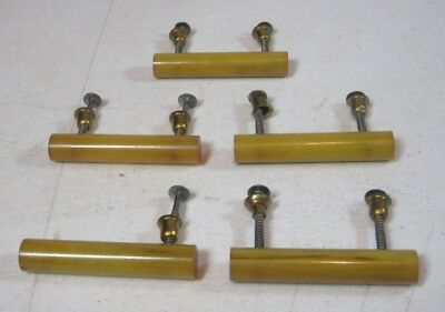 Lot of 5 Vintage Butterscotch Yellow Bakelite Drawer Pulls w/ Hardware Nice