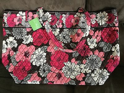 NWT Vera Bradley Grand Tote in Mocha Rouge brown pink with key clip New