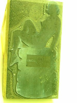 vtg. UNION 76 TIRES Printing Block with Image of Lady in Bikini with Tires
