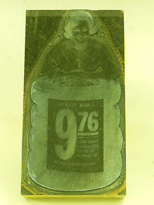 UNION 76 TIRES SERVICE Printing Block w/ Image of Lady with Stack of Tires - vtg