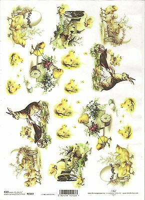 Rice Paper for Decoupage Scrapbooking Easter Flowers Chickens A4 ITD R300