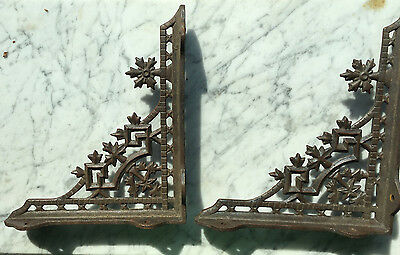 2 Antique Ornate Victorian Eastlake Gothic Cast Iron Shelf Brackets 10.5  Inch