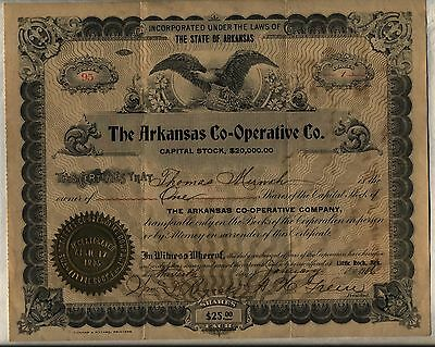 Arkansas Co-Operative Stock Certificate Little Rock