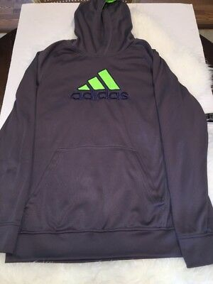 Adidas Boys Kids Size XL/18 Gray With Green & Blue Hoodie Sweatshirt Pullover