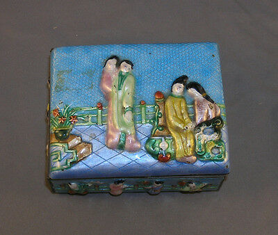 Old Chinese Polychrome Enameled Metal Cigarette Box with Repousse Figures