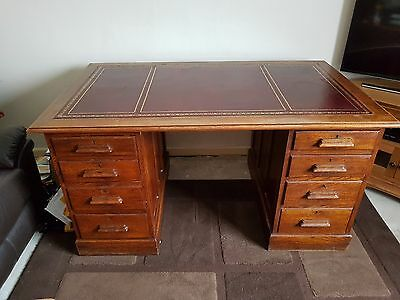 oak leather top pedestal desk