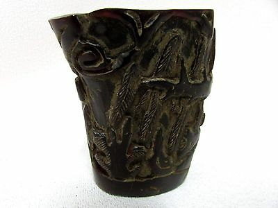 Antique Chinese Carved Cherry Amber Brush Pot