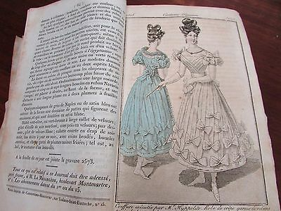 Antique Georgian Fashion Milinery French Journal Des Dames Modes Hats Dress 1828