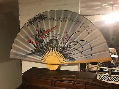 "1 X Large 60"" Folding Wall Fan -- Blossoms -- Original Hand-painted"