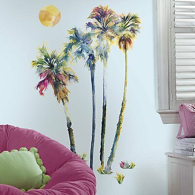 """RoomMates RMK2782GM Watercolor Palm Trees Peel Stick Giant Wall Decals, 23"""" x"""