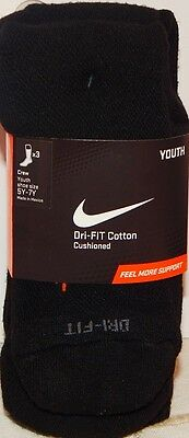 (3 PAIRS) NIKE Dri-FIT COTTON CUSHIONED CREW SOCKS Unisex Youth Size 5Y-7Y