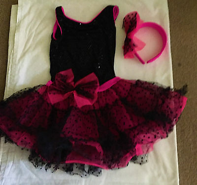 Weissman Girls 3 Piece Pink Black Dance Costume, Halloween, play, Size MC Child